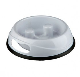 TRIXIE Slow Feed Plastic Bowl White